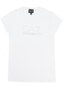 Хлопковая футболка с вышивкой и стразами Ea 7