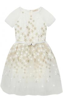 Платье с пышной юбкой и вышивкой в виде звезд Monnalisa