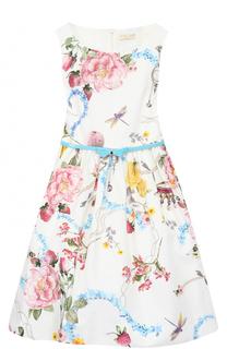 Платье с принтом  и контрастным поясом Monnalisa