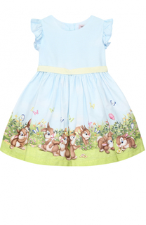 Платье с принтом и оборками на рукавах Monnalisa