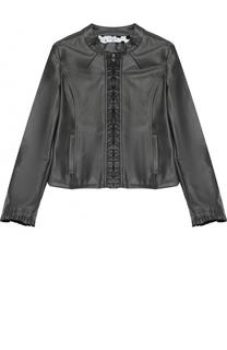 Куртка из эко-кожи на молнии с оборками Monnalisa