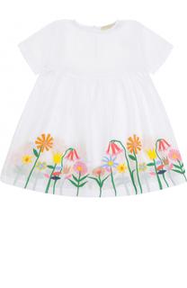 Хлопковое платье свободного кроя с вышивками Stella McCartney