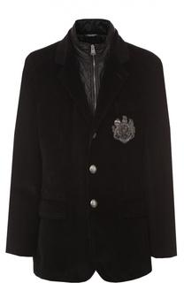 Утепленная куртка из вельвета с вышивкой канителью Dolce & Gabbana