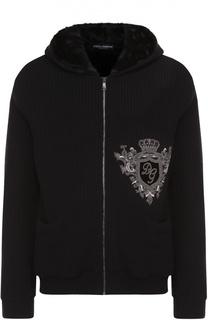 Кашемировый бомбер на молнии с меховой подкладкой Dolce & Gabbana