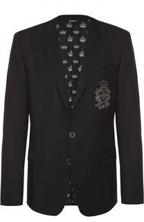 Шерстяной однобортный пиджак с вышивкой Dolce & Gabbana