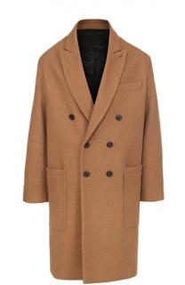 Шерстяное двубортное пальто с остроконечными лацканами Ami