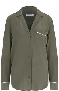 Шелковая блуза в пижамном стиле с накладным карманом Equipment