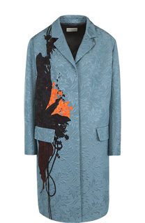 Пальто прямого кроя с фактурной отделкой и принтом Dries Van Noten