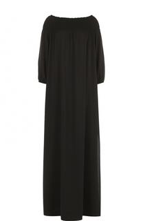 Платье-макси с высокими разрезами и фактурной отделкой Escada