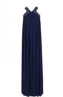 Платье-макси свободного кроя с металлизированной отделкой MICHAEL Michael Kors