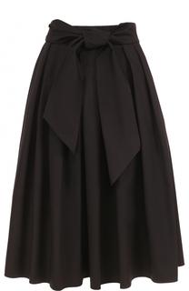 Хлопковая юбка-миди со складками и широким поясом Escada