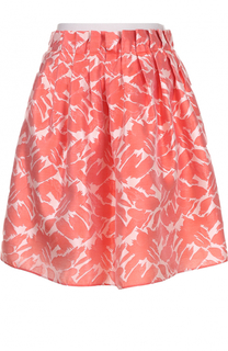 Мини-юбка с цветочным принтом и контрастным поясом Armani Collezioni