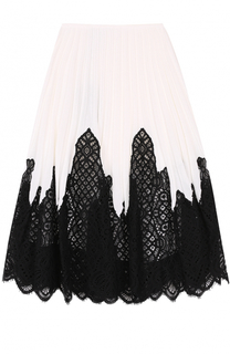 Плиссированная юбка с контрастной кружевной отделкой Oscar de la Renta
