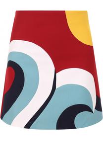 Мини-юбка А-силуэта с контрастной отделкой REDVALENTINO