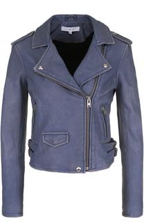Укороченная кожаная куртка с косой молнией Iro