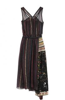 Шелковое платье асимметричного кроя с принтом No. 21