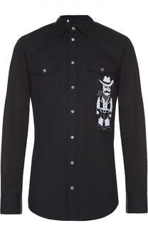 Хлопковая рубашка на кнопках с аппликацией Dolce & Gabbana