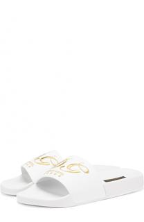 Кожаные шлепанцы с вышивкой Dolce & Gabbana