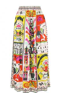 Шелковая юбка-миди с ярким принтом Emilio Pucci