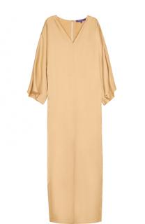 Платье-макси с высоким разрезом и длинными рукавами Ralph Lauren