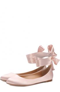 Атласные балетки Odette с лентами на щиколотке Gianvito Rossi