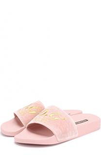 Текстильные шлепанцы с вышивкой Dolce & Gabbana