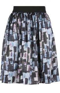 Шелковая мини-юбка с широким поясом и принтом Armani Collezioni