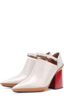 Кожаные туфли на массивном каблуке Marni