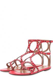 Кожаные сандалии с контрастными вставками Alaia