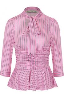 Блуза с воротником аскот и драпировкой Balenciaga