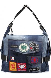 Дорожная сумка из денима с контрастными нашивками Dsquared2