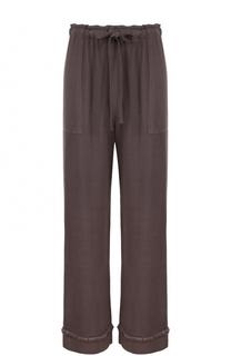 Укороченные брюки с бахромой и эластичным поясом Raquel Allegra