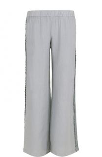 Льняные широкие брюки с декорированными лампасами 120% Lino