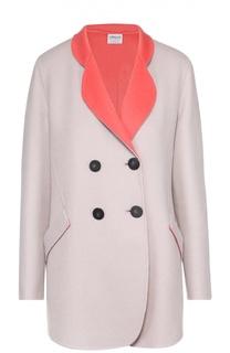 Шерстяное двубортное пальто с воротником-стойкой Armani Collezioni