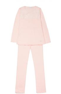 Пижама из хлопка с кружевной отделкой La Perla