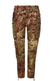 Укороченные брюки с пайетками и накладными карманами Dsquared2