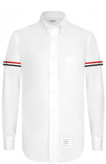 Хлопковая рубашка с воротником button down и контрастной отделкой Thom Browne