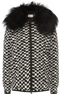 Куртка с принтом гусиная лапка и меховой отделкой капюшона Moncler