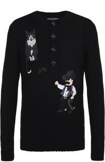 Шерстяной свитер фактурной вязки с аппликациями Dolce & Gabbana