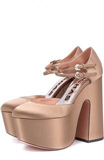 Атласные туфли на массивном каблуке и платформе Rochas