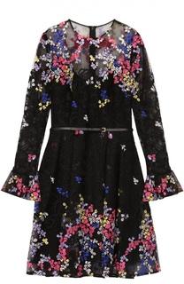 Приталенное мини-платье с контрастной цветочной вышивкой Elie Saab