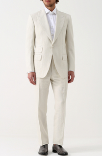Льняной костюм с пиджаком на двух пуговицах Tom Ford