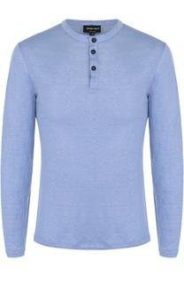 Льняная футболка хенли с длинными рукавами Giorgio Armani