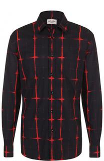 Хлопковая рубашка с контрастным принтом Saint Laurent
