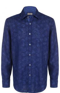 Льняная рубашка с принтом Canali