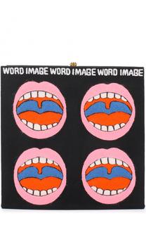 Клатч Word Image с аппликацией Olympia Le-Tan