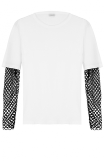 Хлопковая футболка с контрастными рукавами Dries Van Noten