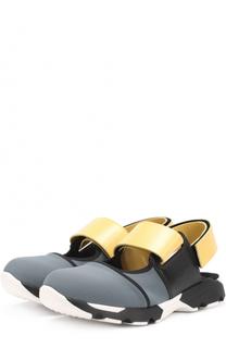 Текстильные кроссовки с открытым задником Marni