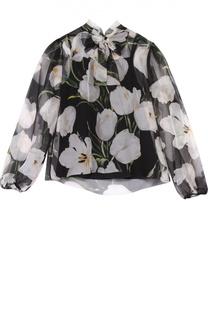 Шелковая блуза с цветочным принтом и воротником аскот Dolce & Gabbana