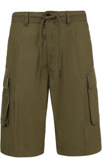 Хлопковые шорты свободного кроя с накладными карманами Diesel